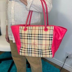 Burberry hot pink tote bag